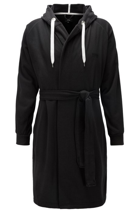 Cotton-blend hooded bathrobe with striped sleeves, Black