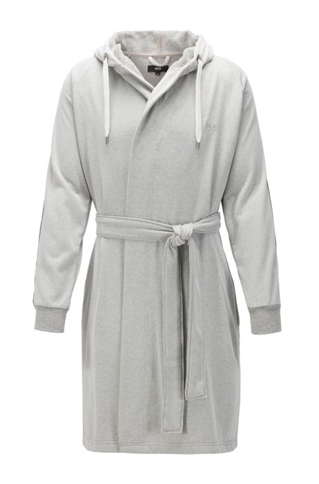 Bata de mezcla de algodón con capucha y cinta decorativa, Gris claro