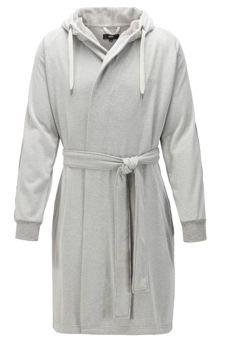 Cotton-blend hooded bathrobe with striped sleeves, Grey