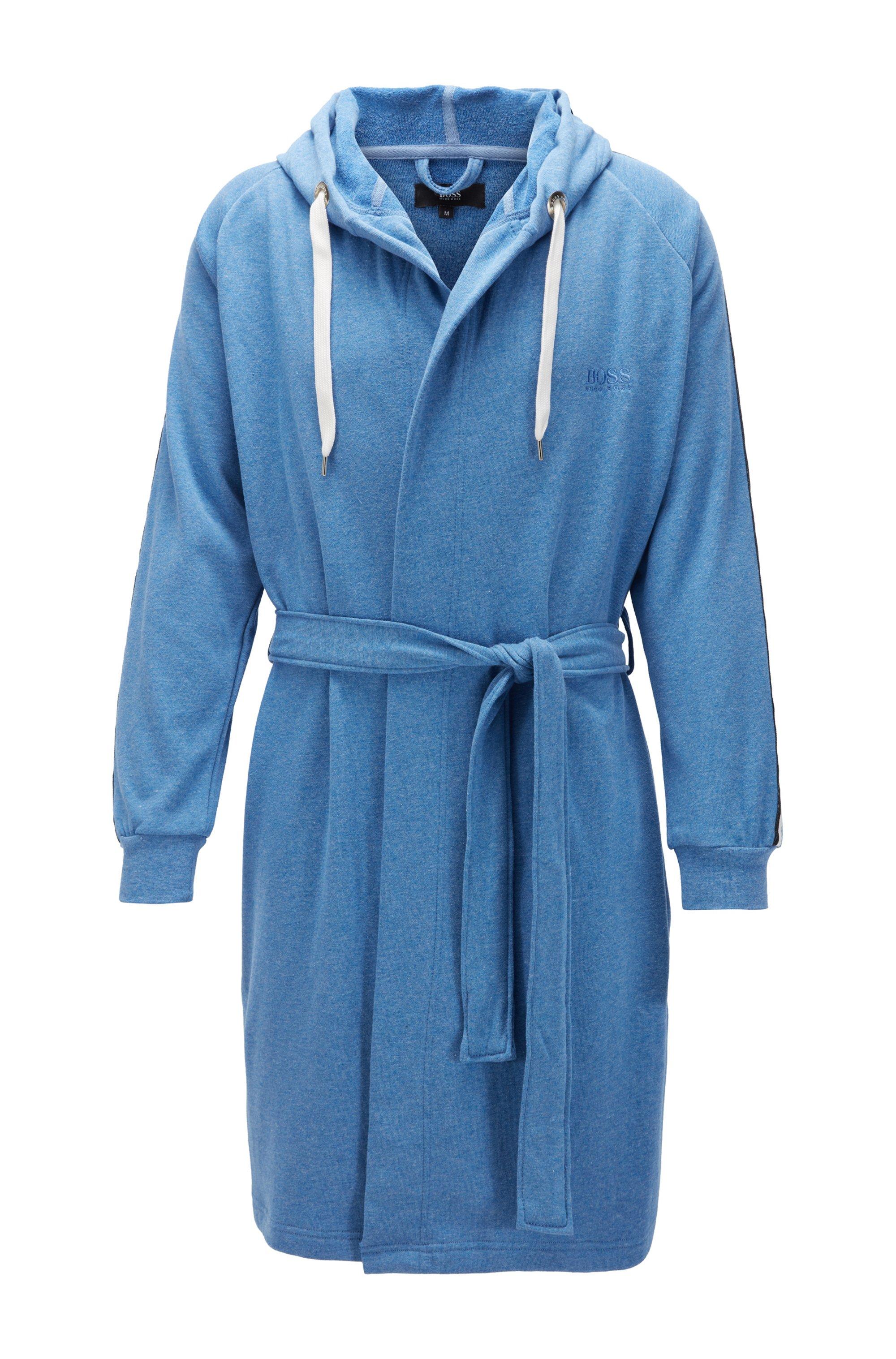 Vestaglia in misto cotone con cappuccio e rifiniture nastrate, Blu
