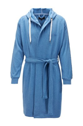 Cotton-blend hooded bathrobe with striped sleeves, Blue
