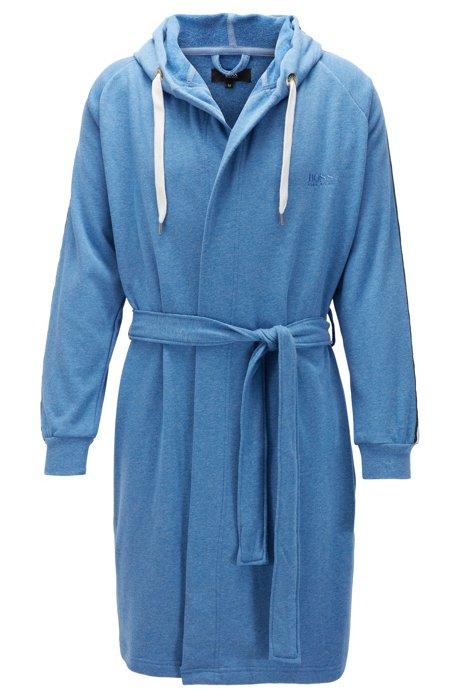 Accappatoio con cappuccio in misto cotone con maniche a righe, Blu