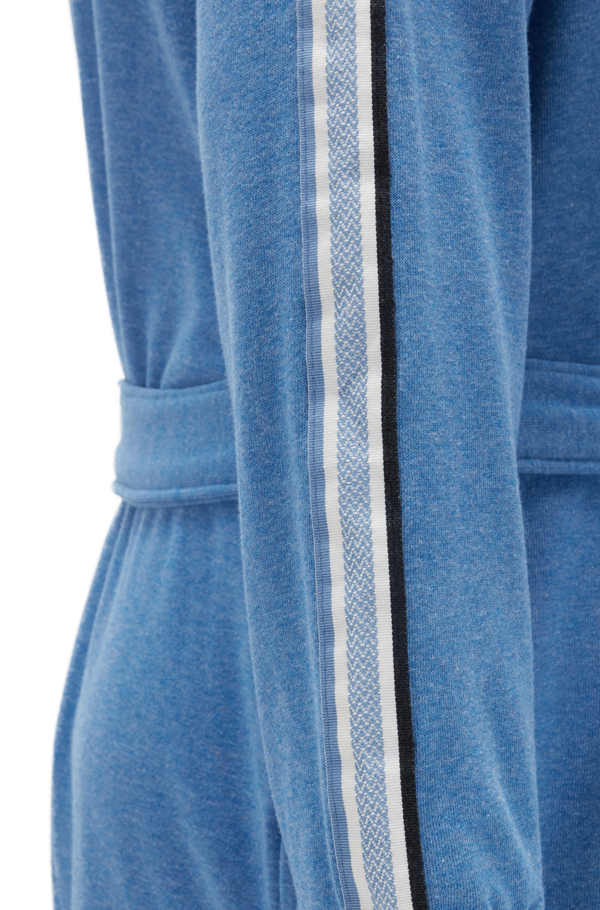 Cotton-blend hooded bathrobe with striped sleeves