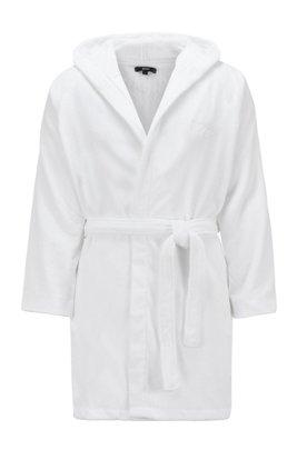 Albornoz corto de algodón egipcio con capucha, Blanco