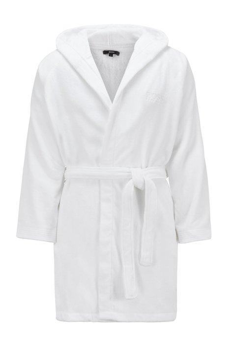 Robe de chambre courte à capuche en coton égyptien, Blanc
