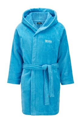 Short hooded dressing gown in Egyptian cotton, Blue