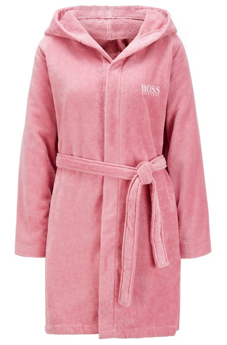 Short hooded dressing gown in Egyptian cotton, light pink