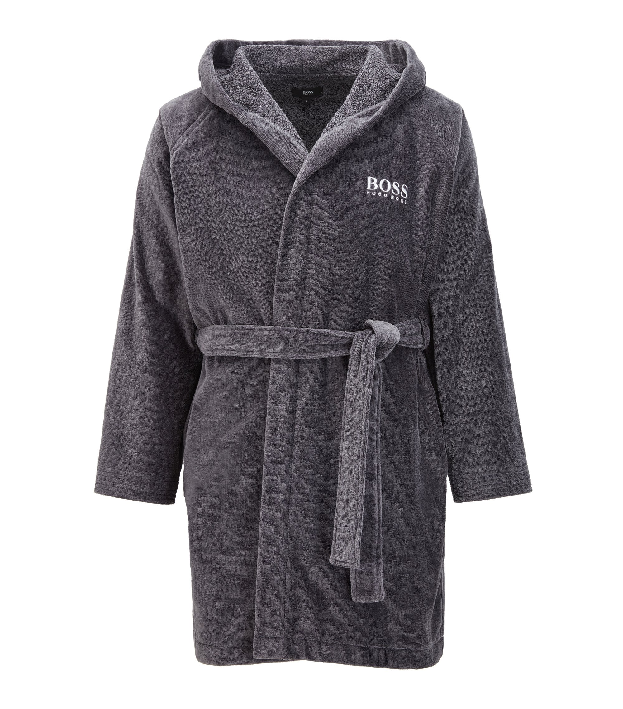 Hooded dressing gown in Egyptian cotton, Anthracite