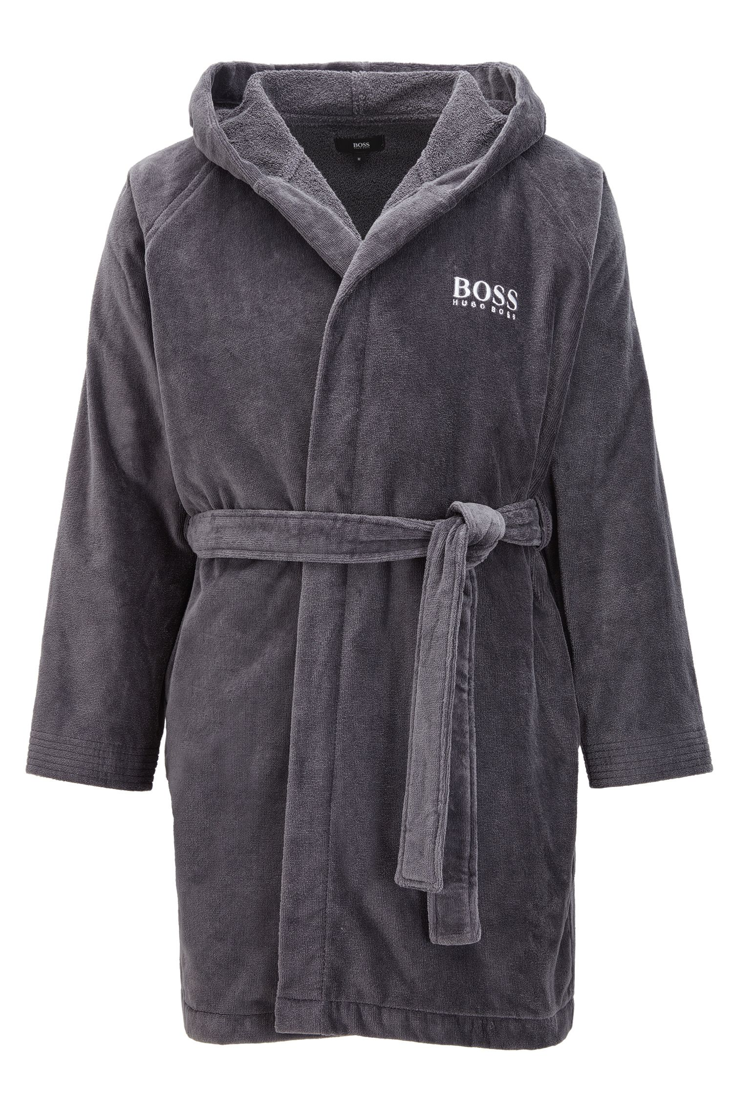 Hooded dressing gown in Egyptian cotton