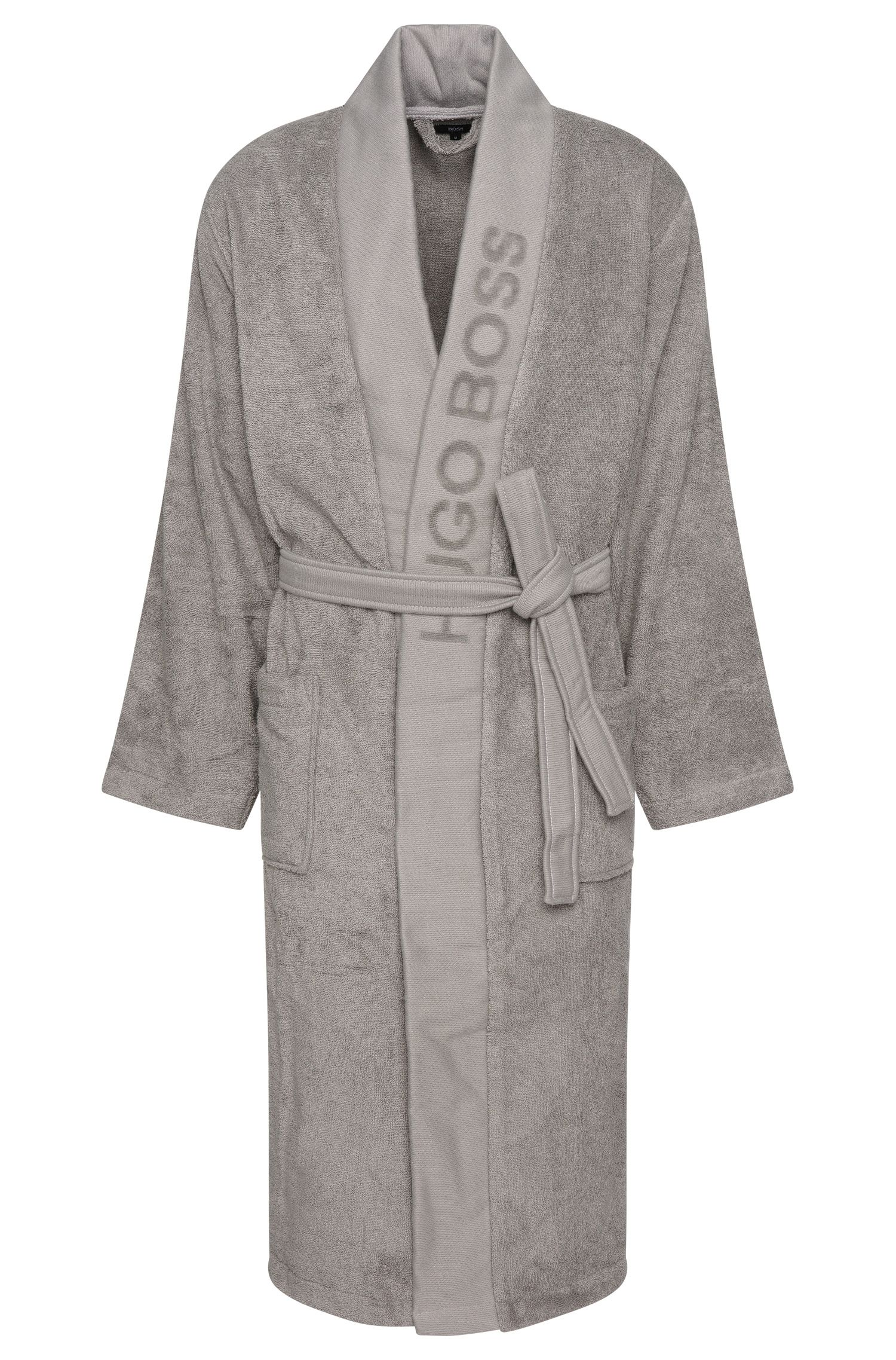 Unisex dressing gown in Egyptian cotton, Dark Grey