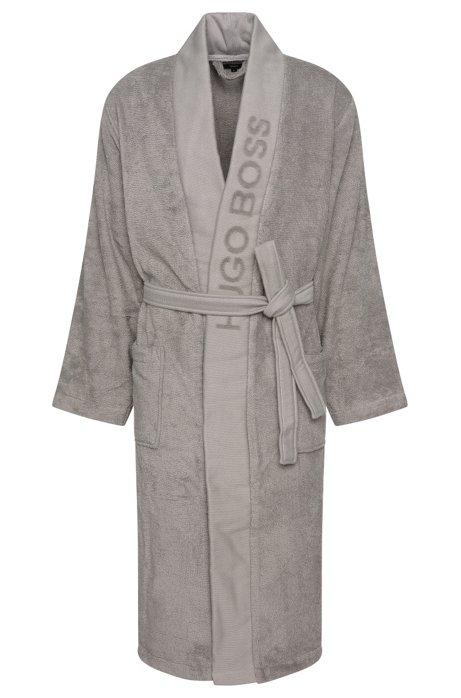 Unisex dressing gown in Egyptian cotton, Dark Grey