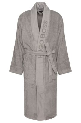 Bathrobe 'PLAIN' with wide panel trim, Dark Grey