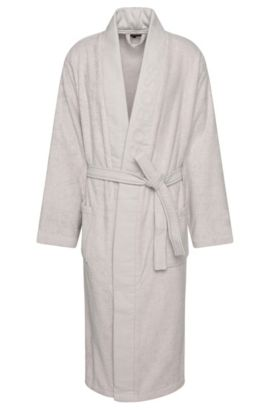 Bathrobe 'PLAIN' with wide panel trim, Silver