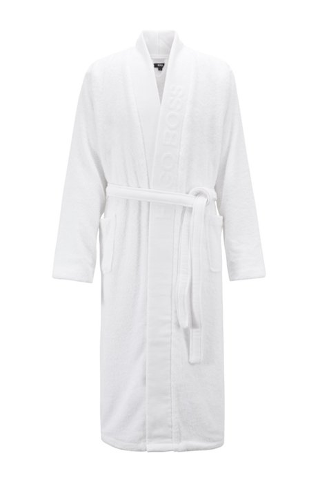 Unisex dressing gown in Egyptian cotton, White