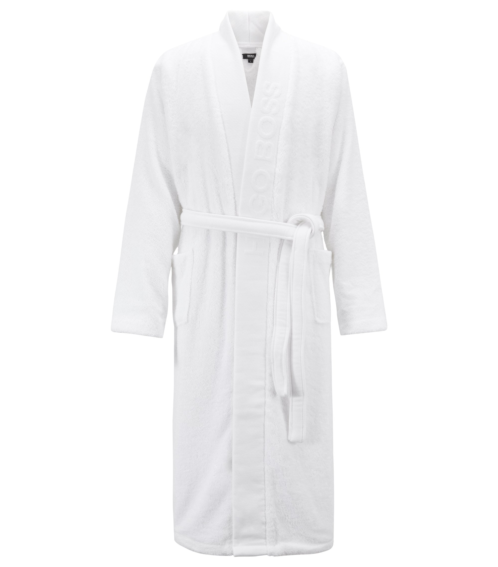 Hooded dressing gown in Egyptian cotton, White