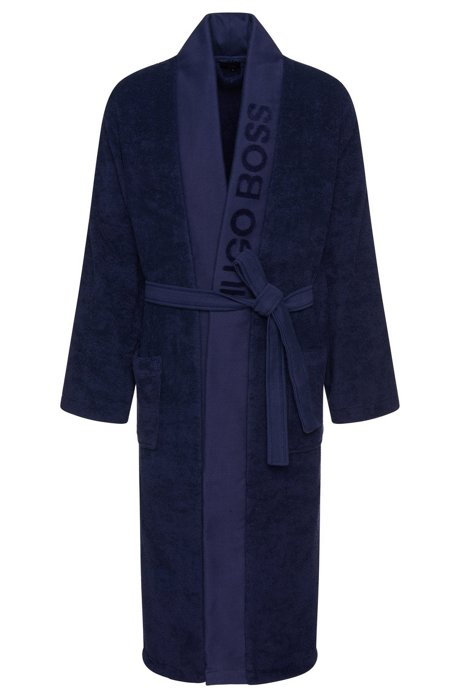 Unisex dressing gown in Egyptian cotton, Dark Blue