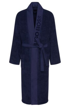 Bathrobe 'PLAIN' with wide panel trim, Dark Blue