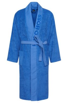 Bathrobe 'PLAIN' with wide panel trim, Assorted-Pre-Pack