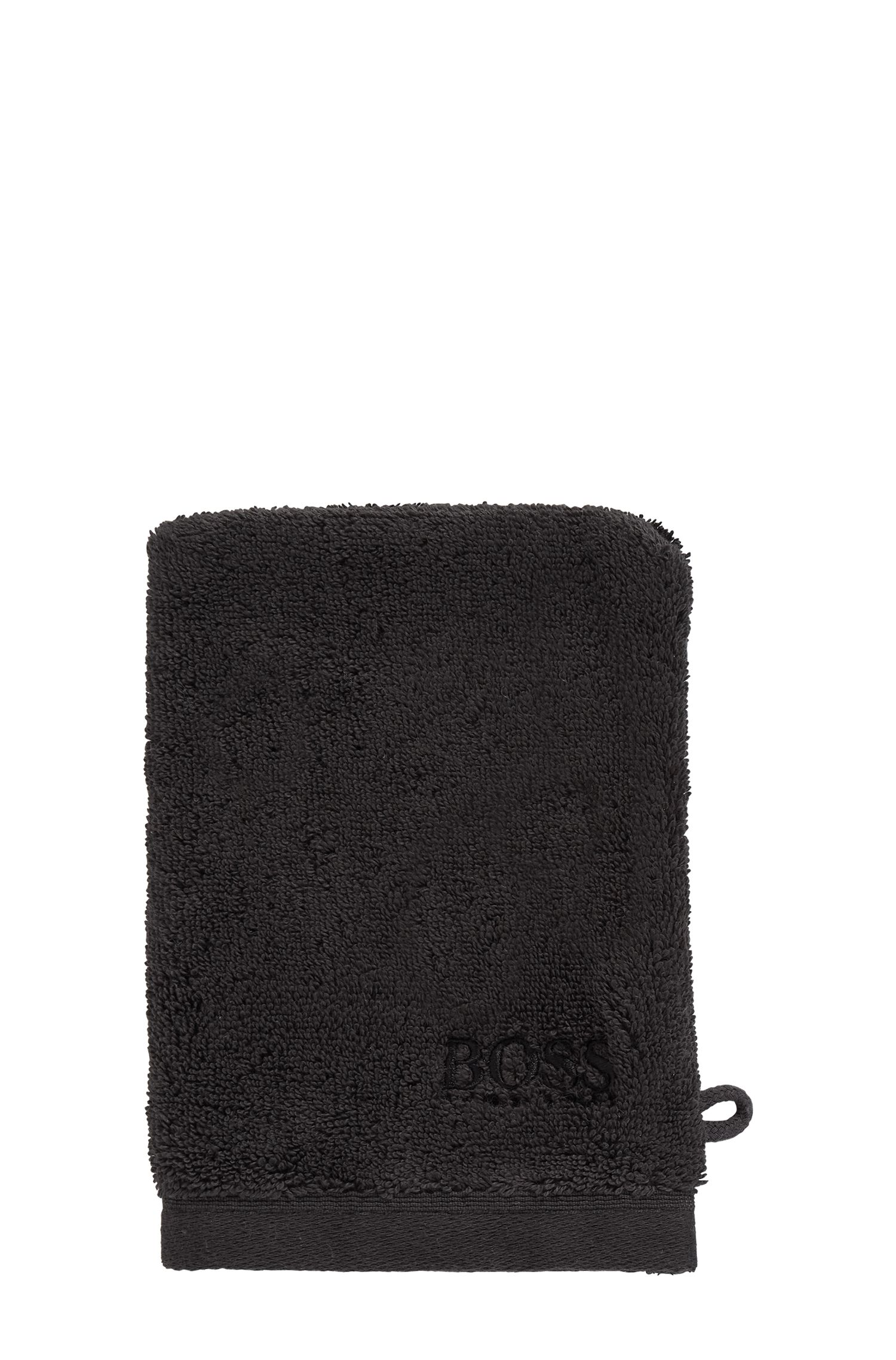 Washing mitt in combed Aegean cotton, Black