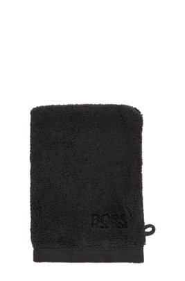 Waschhandschuh aus gekämmter ägäischer Baumwolle, Schwarz