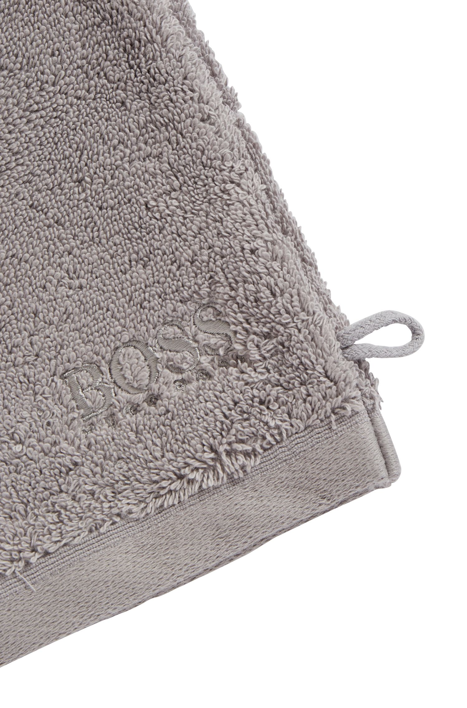 Washing mitt in combed Aegean cotton, Silver