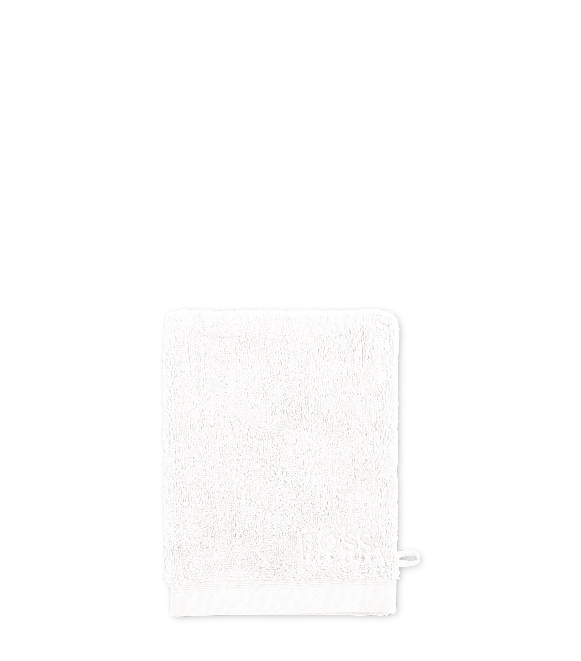 Washing mitt in combed Aegean cotton, White