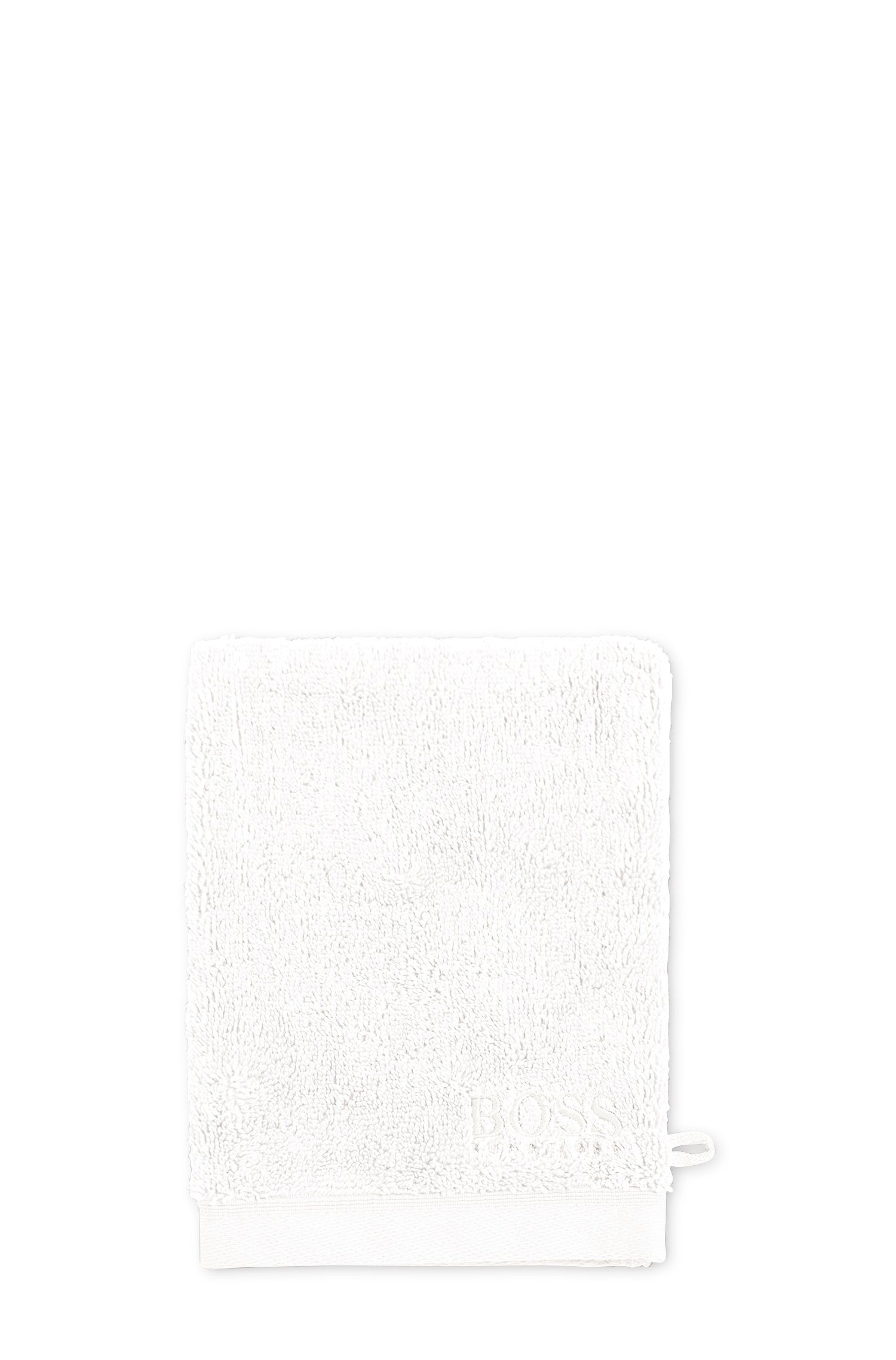 Gant de toilette en coton peigné de la mer Égée, Blanc