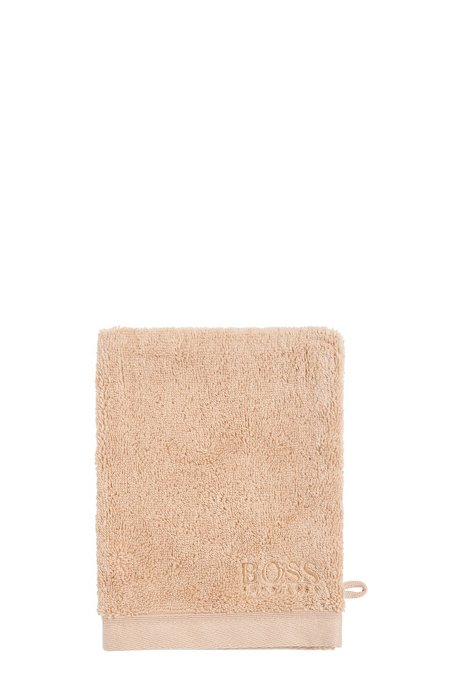 Washing mitt in combed Aegean cotton, Beige