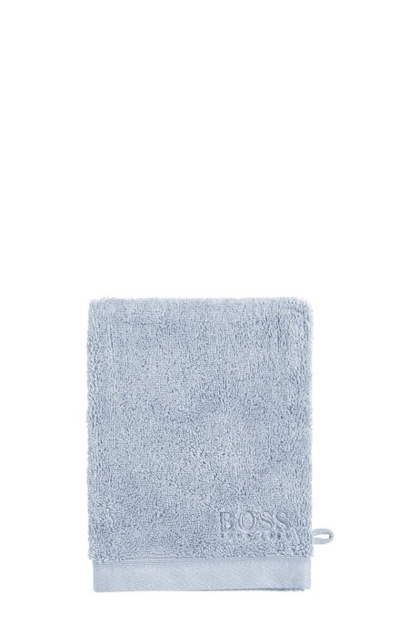Washing mitt in combed Aegean cotton, Light Blue