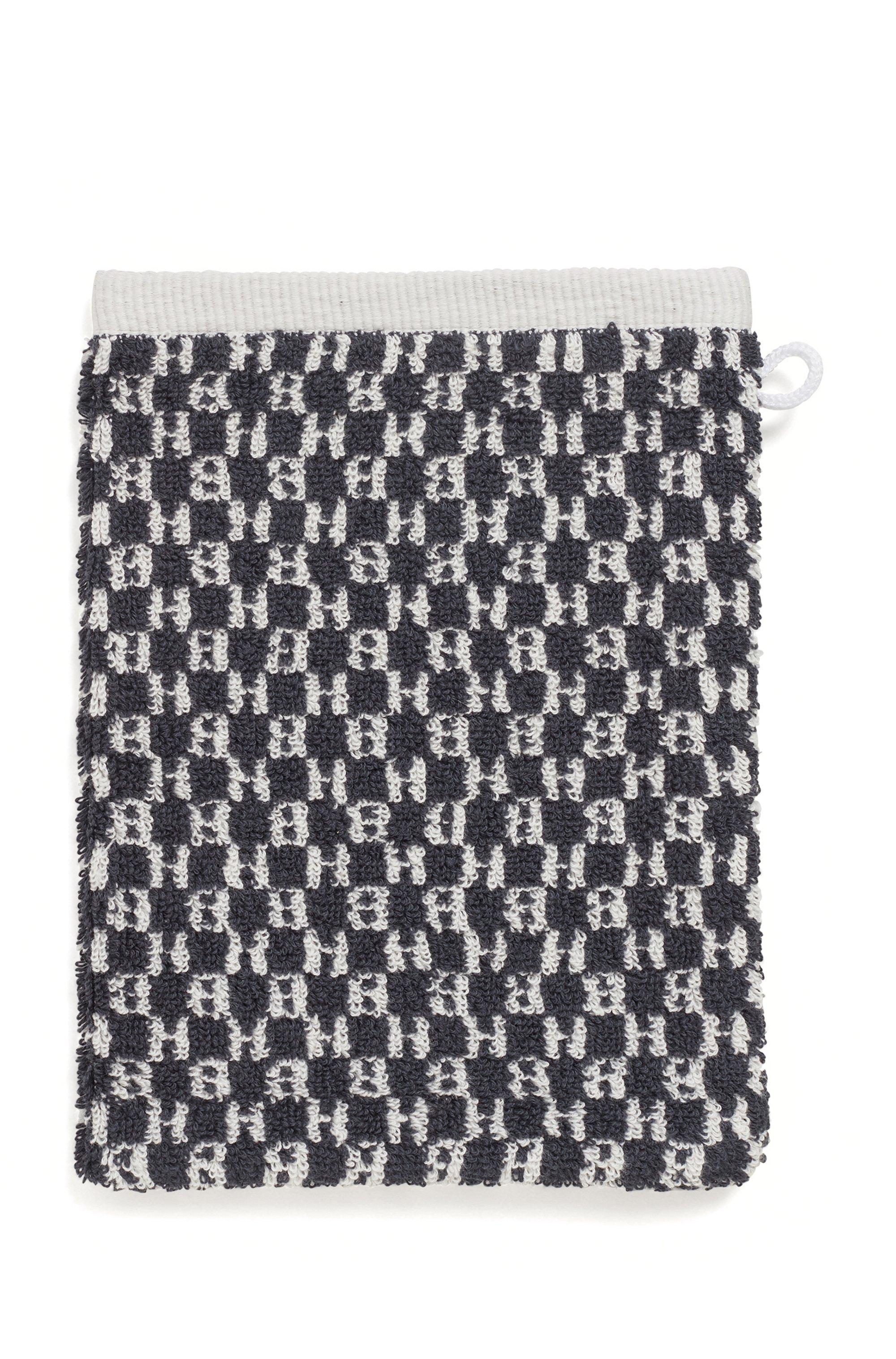 Monogram washing mitt in cotton jacquard