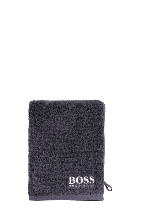 Finest Egyptian cotton washing mitt with contrast logo embroidery, Anthracite