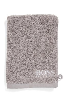 Finest Egyptian cotton washing mitt with contrast logo embroidery, Grey