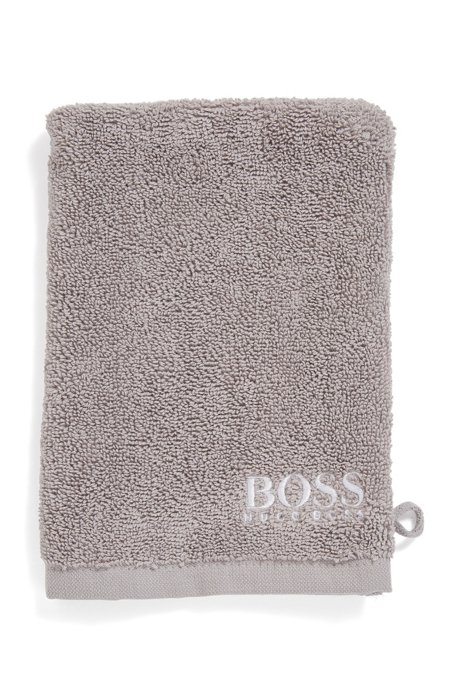 Finest Egyptian cotton washing mitt with contrast logo embroidery, Dark Grey