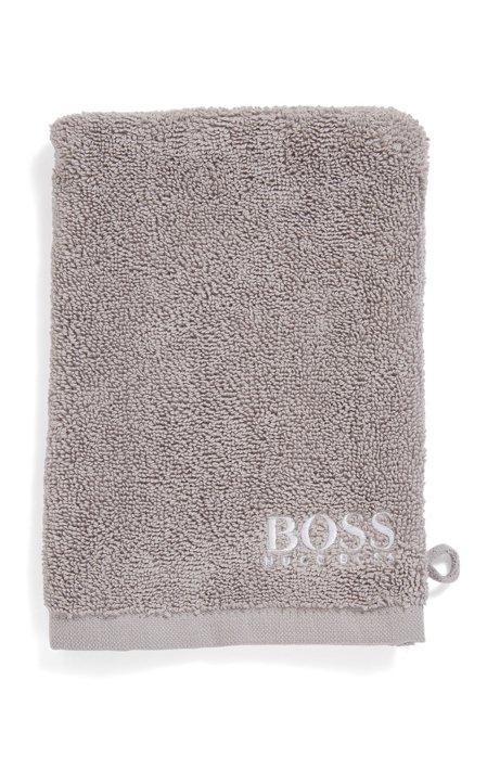 Gant de toilette en coton égyptien des plus raffinés avec logo brodé contrastant, Gris sombre