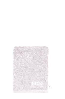Waschhandschuh aus feinster ägyptischer Baumwolle mit kontrastfarbener Logo-Stickerei, Silber