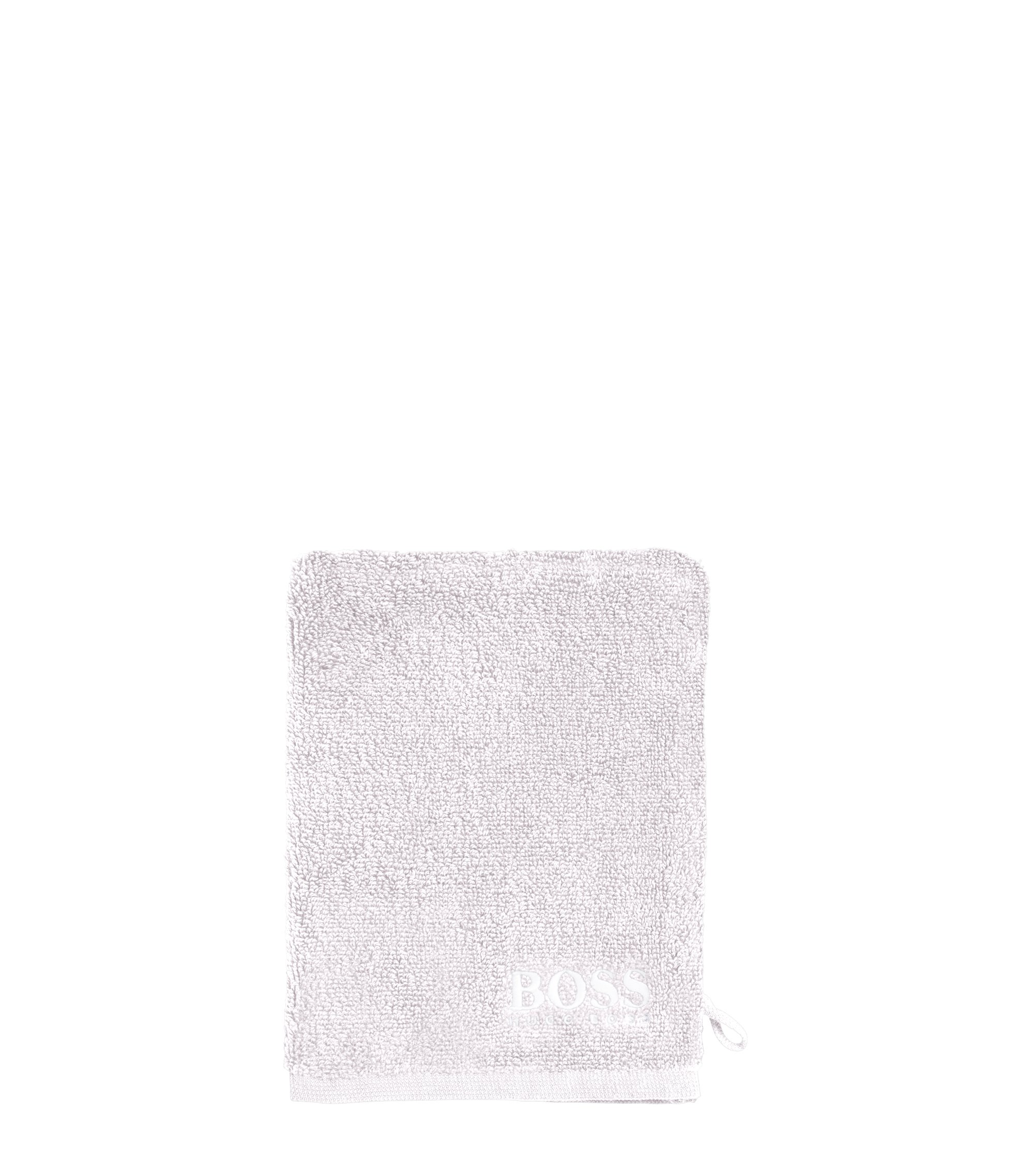 Finest Egyptian cotton washing mitt with contrast logo embroidery, Silver