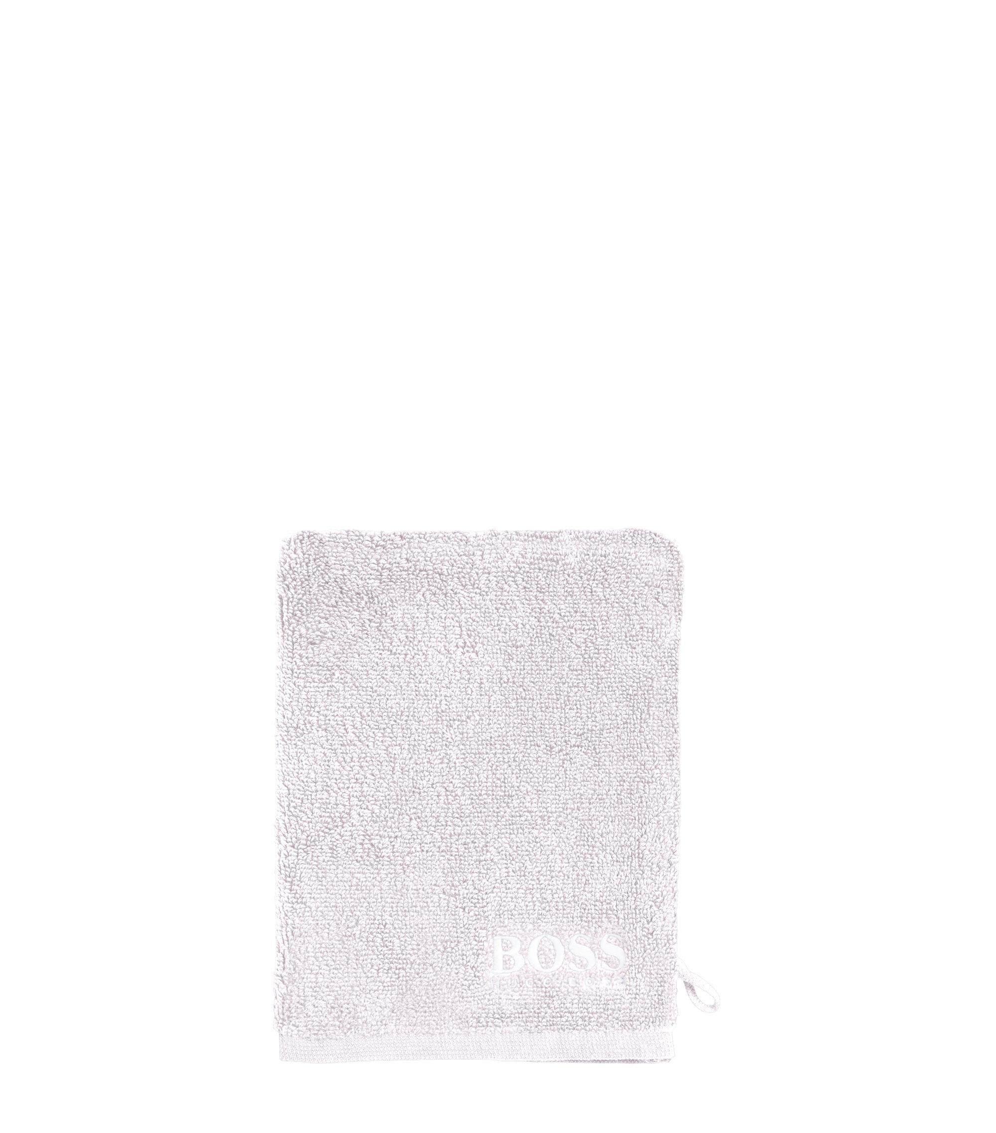 Washandje van de fijnste Egyptische katoen met contrasterend logostiksel, Zilver