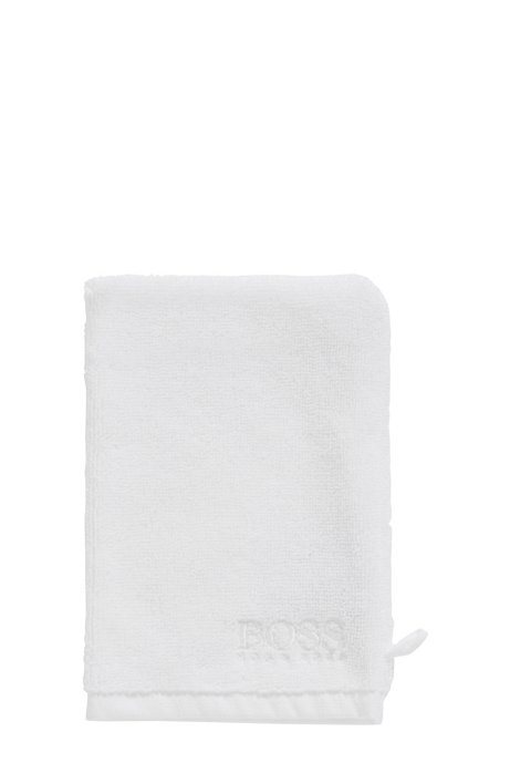 Finest Egyptian cotton washing mitt with contrast logo embroidery, White