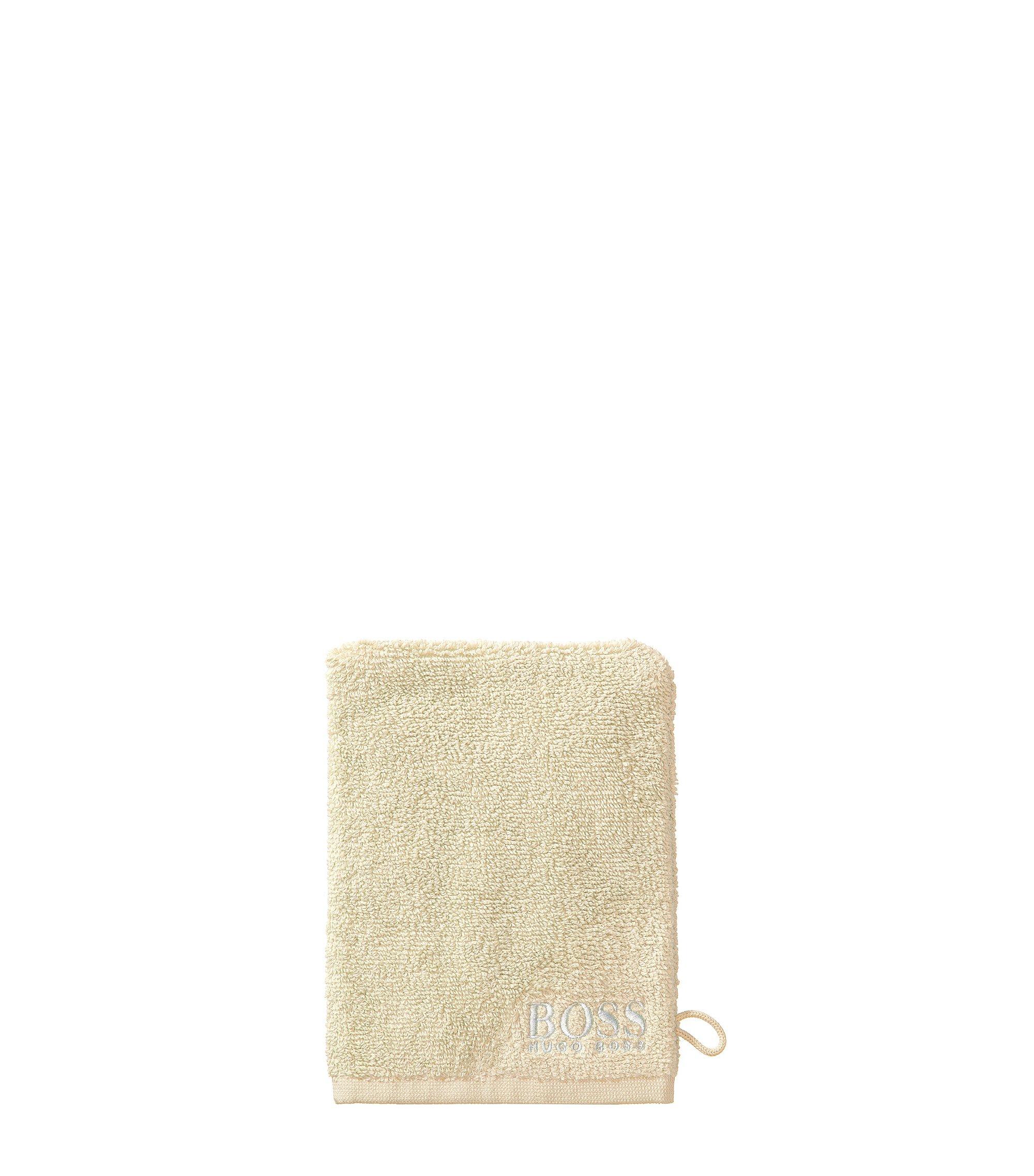 Manopola da bagno in raffinato cotone egiziano con logo ricamato a contrasto, Beige chiaro
