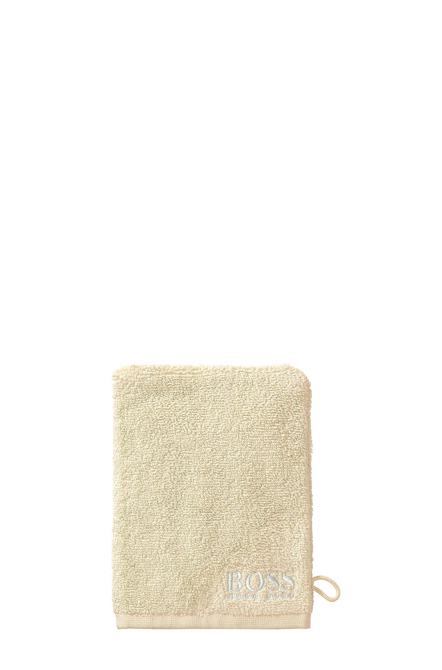 Finest Egyptian cotton washing mitt with contrast logo embroidery, Light Beige