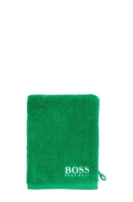 Waschhandschuh aus feinster ägyptischer Baumwolle mit kontrastfarbener Logo-Stickerei, Grün