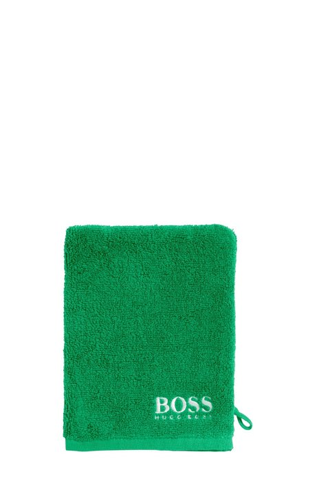 Finest Egyptian cotton washing mitt with contrast logo embroidery, Green