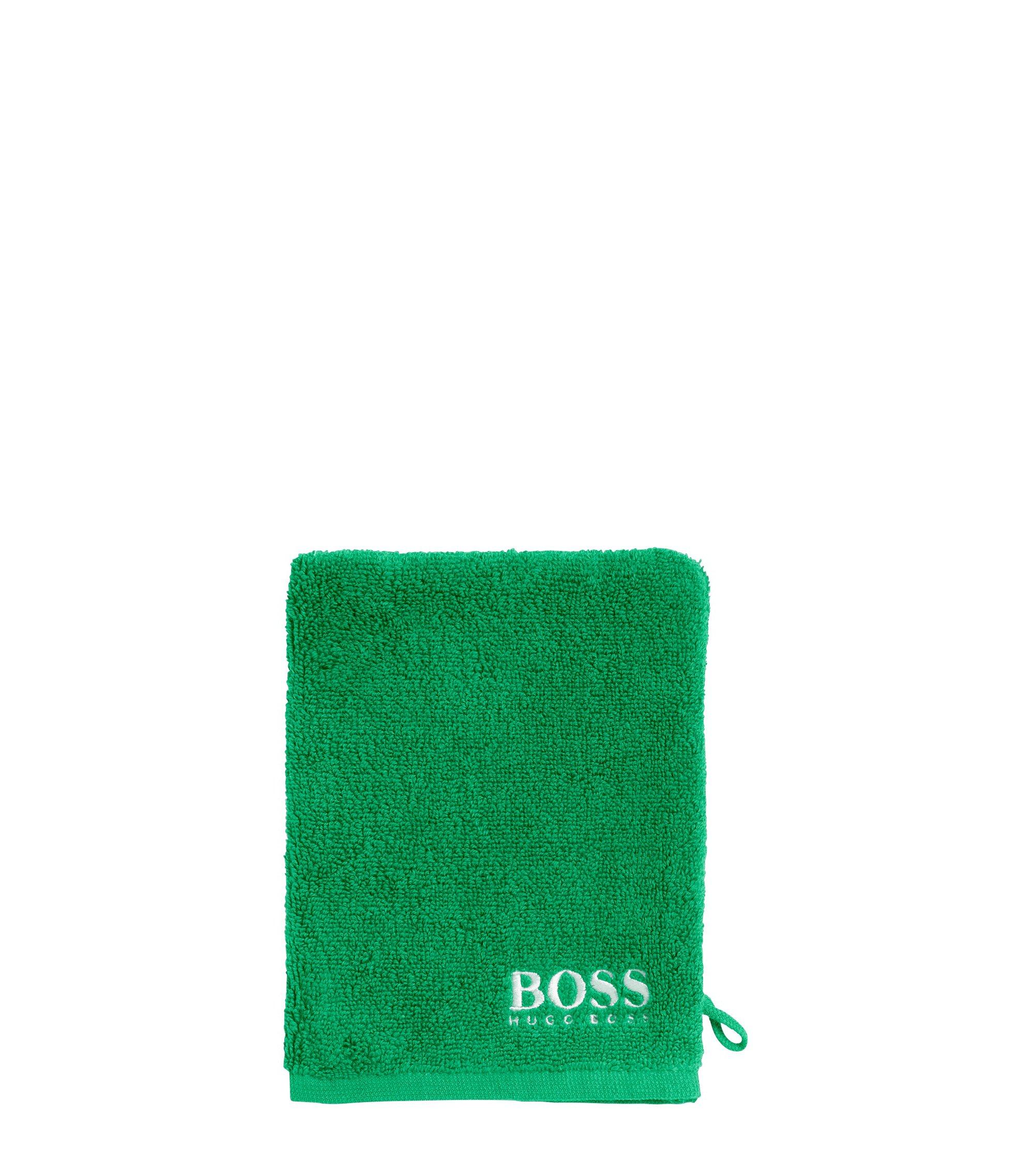 Manopla de baño en algodón egipcio de primera calidad con logo bordado en contraste, Verde