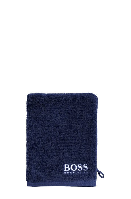 Finest Egyptian cotton washing mitt with contrast logo embroidery, Dark Blue