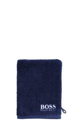 Waschhandschuh aus feinster ägyptischer Baumwolle mit kontrastfarbener Logo-Stickerei, Dunkelblau
