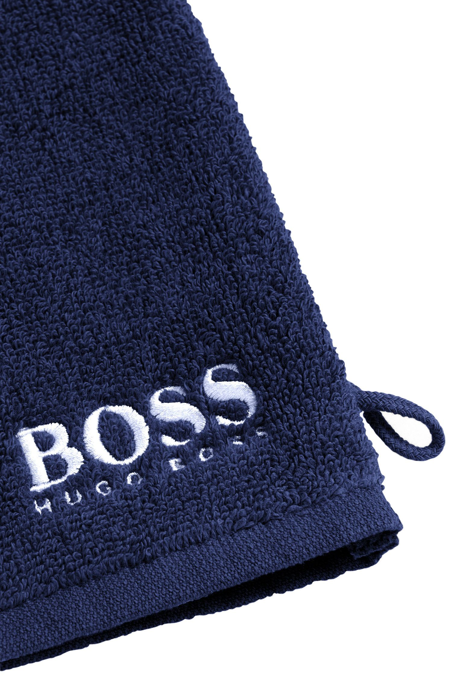 Finest Egyptian cotton washing mitt with contrast logo embroidery