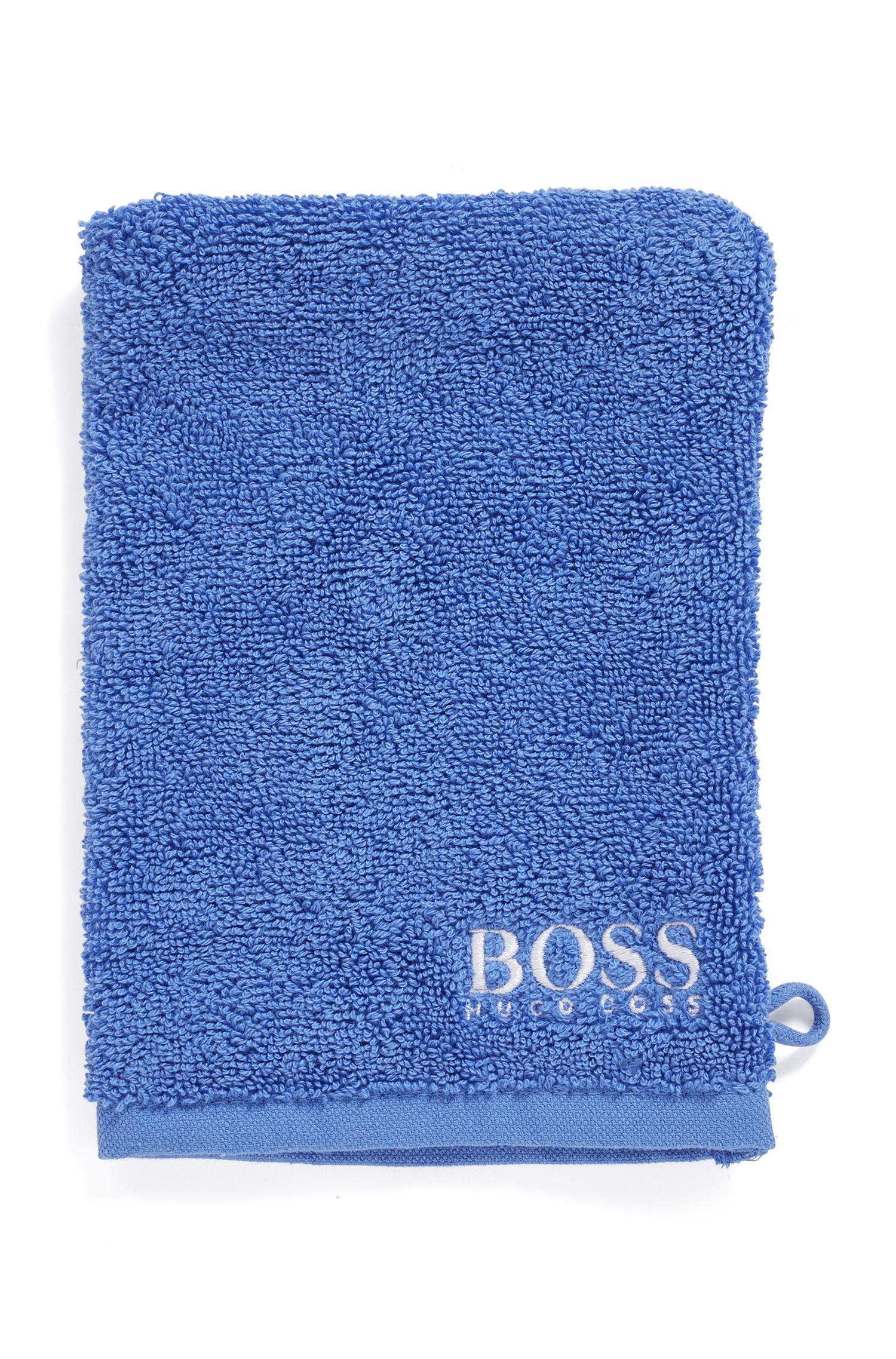 Manopola da bagno in raffinato cotone egiziano con logo ricamato a contrasto, Blu