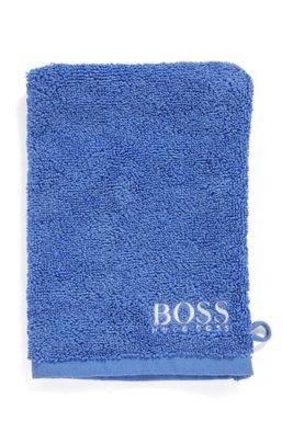 Waschhandschuh aus feinster ägyptischer Baumwolle mit kontrastfarbener Logo-Stickerei, Blau