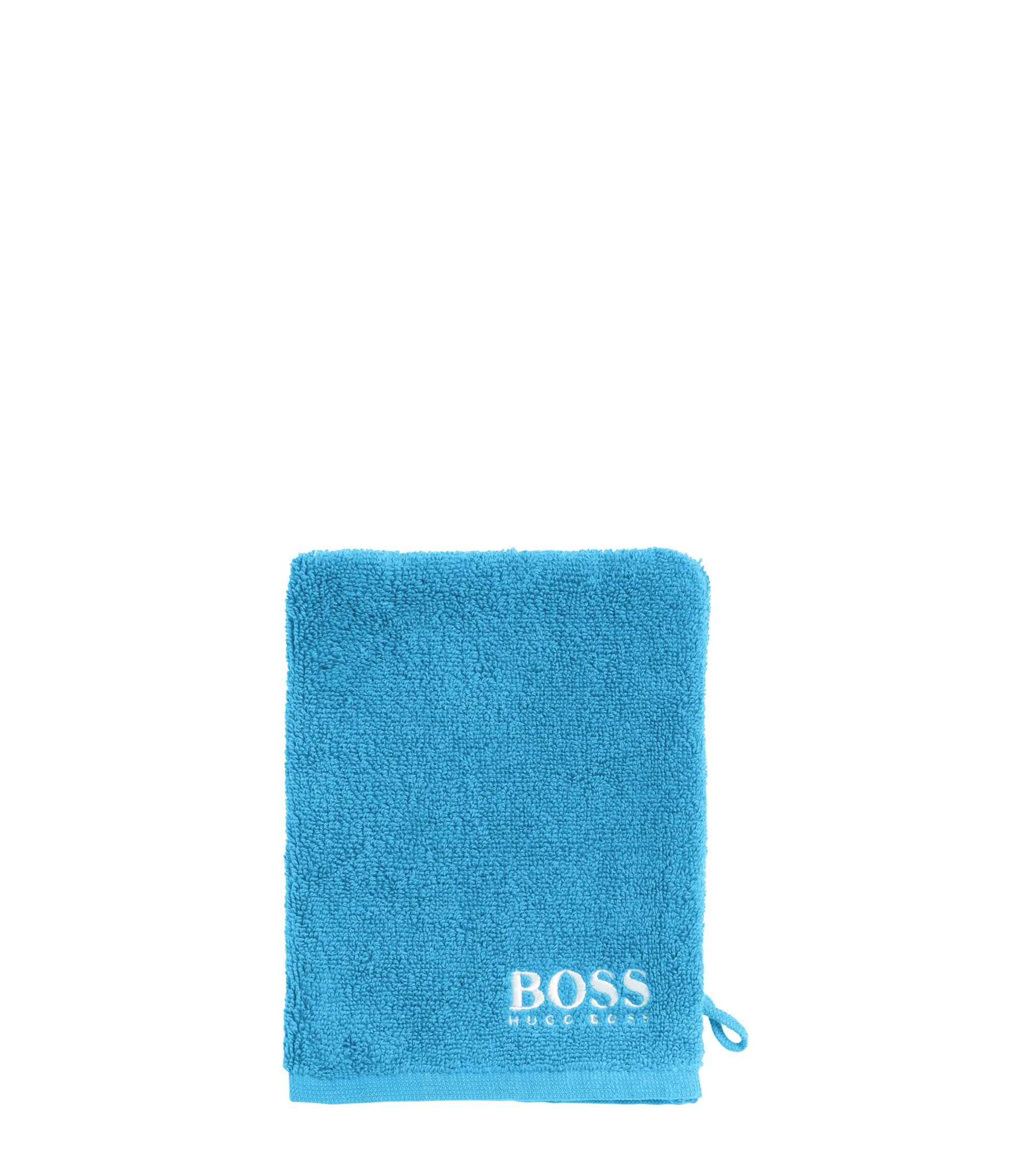 Gant de toilette en coton égyptien des plus raffinés avec logo brodé contrastant, Bleu