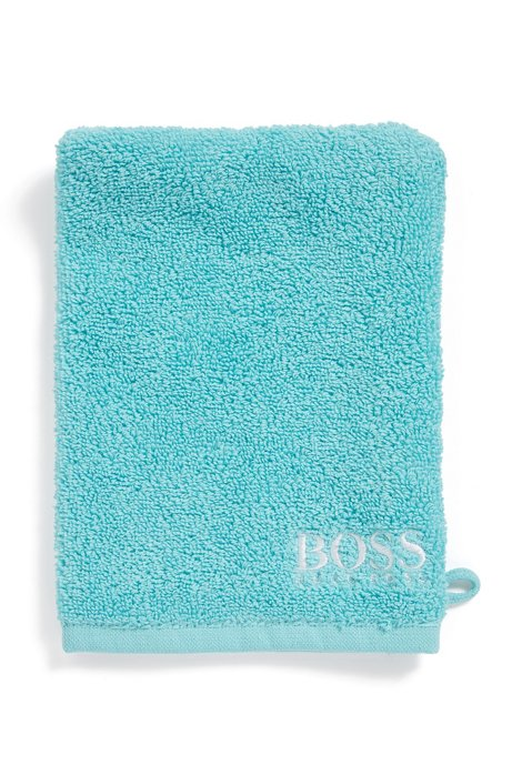 Finest Egyptian cotton washing mitt with contrast logo embroidery, Turquoise